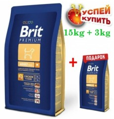 Акция Brit Premium Dog Adult M  15кг+3кг